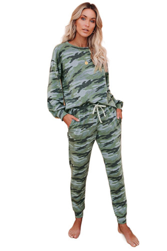 Green Bat Sleeve Camouflage Drawstring Pajama Set LC451214-9