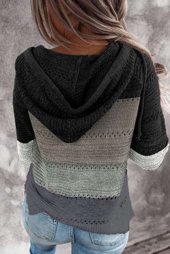 Black Combo Block Knit Hoodie LC253742-2