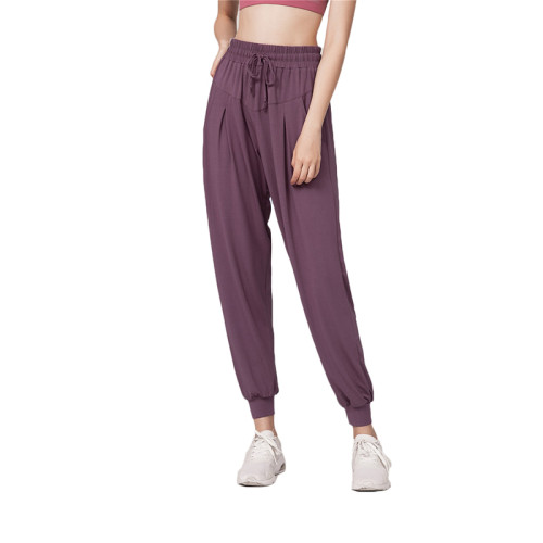 Purple Drawstring Casual Sports Pants TQE64011-8