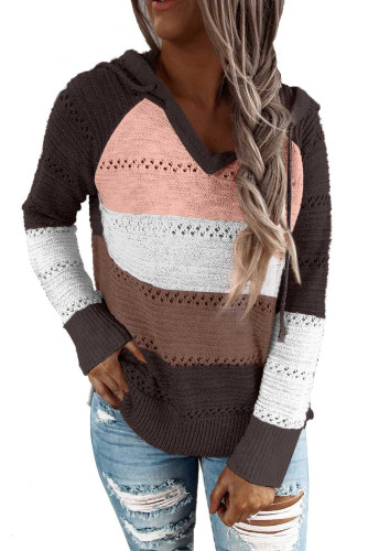 Brown Combo Block Knit Hoodie LC253742-17