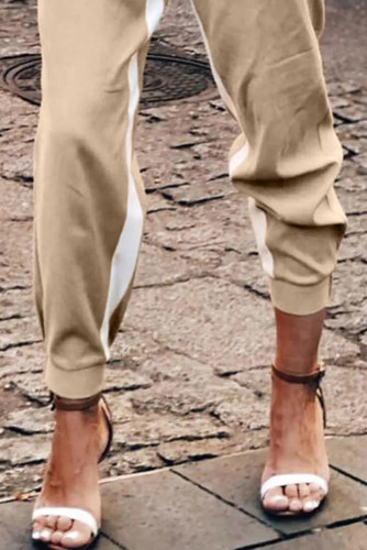 Khaki Casual Striped Drawstring Pants LC77469-16