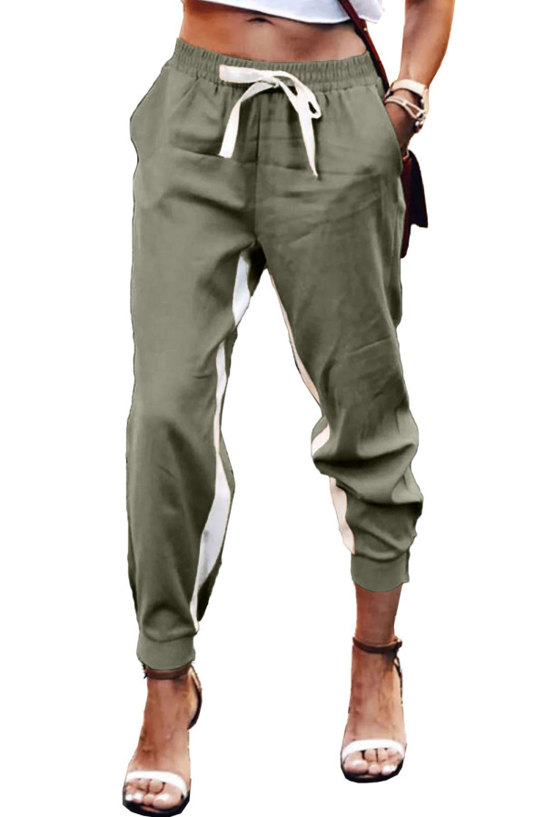 Green Casual Striped Drawstring Pants LC77469-9