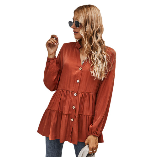 Rust Red Button Pleated Long Sleeve Blouse TQK220052-33
