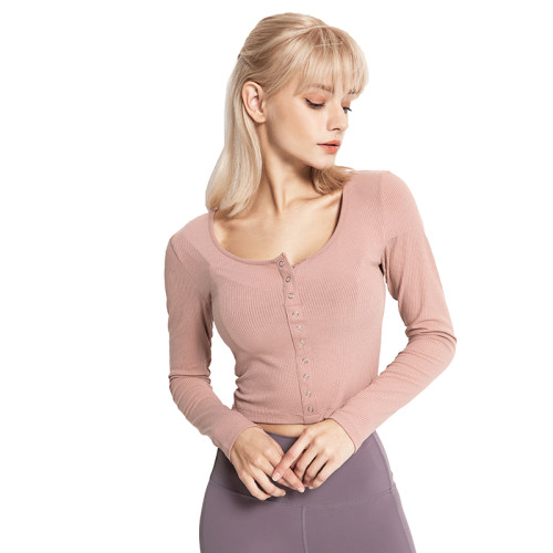 Pink Button Long Sleeve Yoga Crop Top TQE24012-10