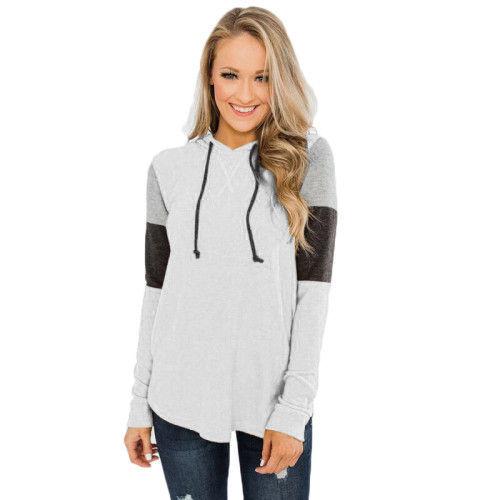 White Colorblock Long Sleeve Pullover Hoodie TQK230151-1