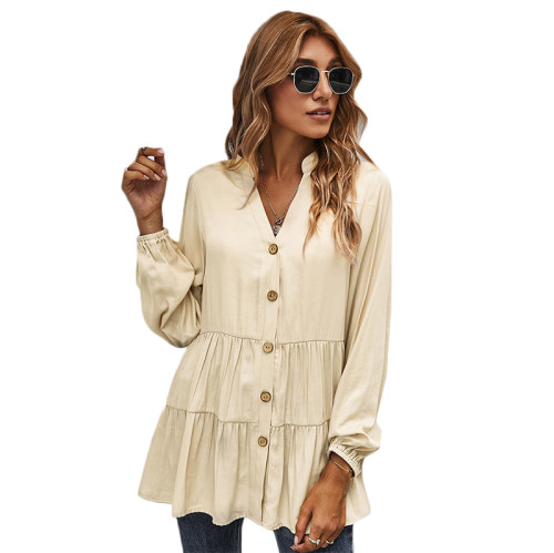 Apricot Button Pleated Long Sleeve Blouse TQK220052-18