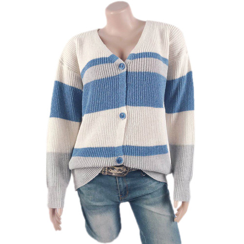 Blue Colorblock V Neck Knit Cardigan TQK271061-5