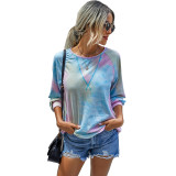 Pink Tie Dye Print Long Sleeve Top TQK210463-10