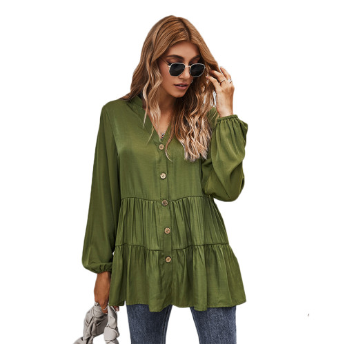 Army Green Button Pleated Long Sleeve Blouse TQK220052-27