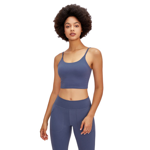 Lilac Grey Crop Sport Yoga Bra Top TQE16014-66