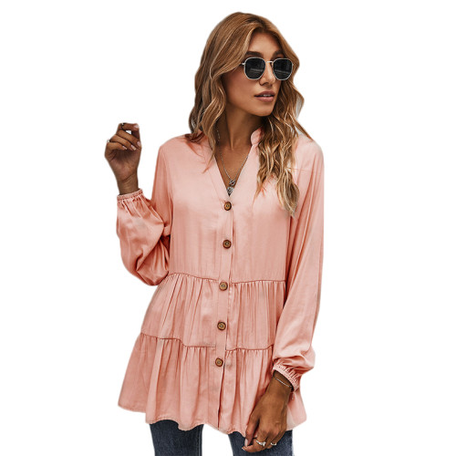 Pink Button Pleated Long Sleeve Blouse TQK220052-10