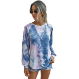 Navy Blue Tie Dye Print Long Sleeve Top TQK210463-34