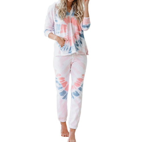 Pink Tie Dye Long Sleeve Pajama Set TQK710031-10