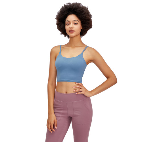 Slate Blue Crop Sport Yoga Bra Top TQE16014-55