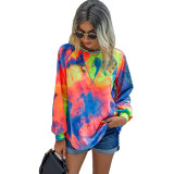 Multicolor Tie Dye Print Long Sleeve Top TQK210463-29