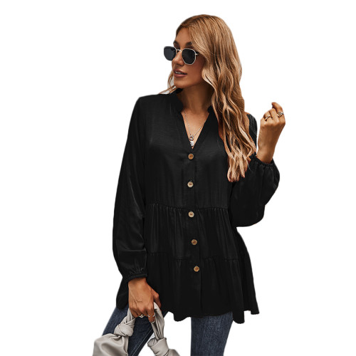 Black Button Pleated Long Sleeve Blouse TQK220052-2