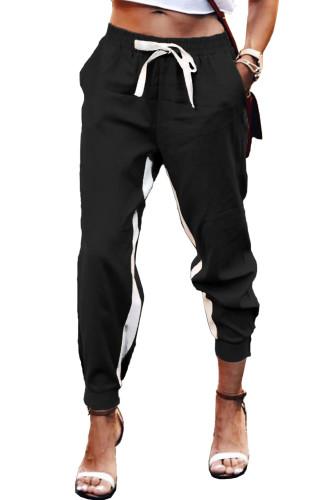 Black Casual Striped Drawstring Pants LC77469-2