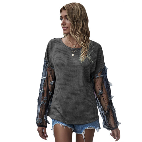 Gray Splice Butterfly Mesh Long Lantern Sleeve Top TQK210467-11