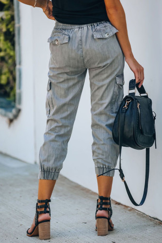 Gray Drawstring Cargo Pocketed Joggers LC77454-11