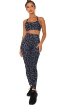 Charcoal Leopard Sports Bra and Legging Set LC26074-11