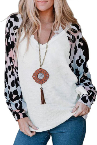 White Leopard Sleeve V Neck Waffle Top LC2511734-1
