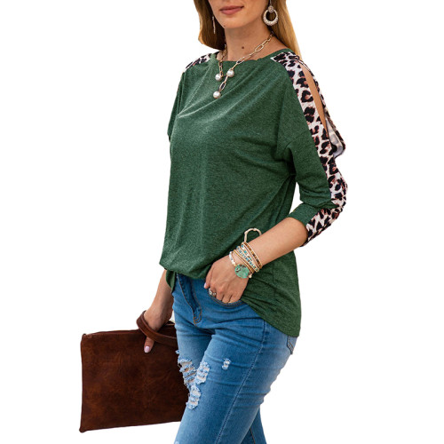 Green Cold Shoulder Leopard Long Sleeve Top TQK210468-9