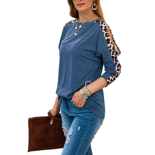 Blue Cold Shoulder Leopard Long Sleeve Top TQK210468-5