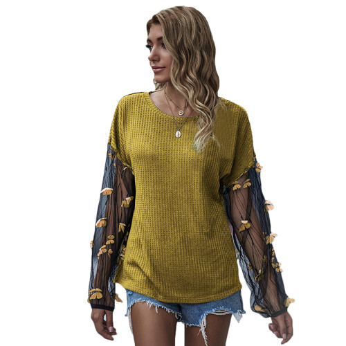 Yellow Splice Butterfly Mesh Long Lantern Sleeve Top TQK210467-7