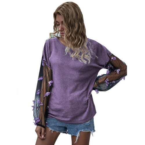 Purple Splice Butterfly Mesh Long Lantern Sleeve Top TQK210467-8