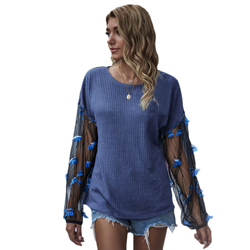 Blue Splice Butterfly Mesh Long Lantern Sleeve Top TQK210467-5