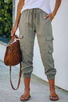 Olive Drawstring Cargo Pocketed Joggers LC77454-9