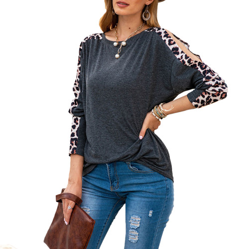 Gray Cold Shoulder Leopard Long Sleeve Top TQK210468-11