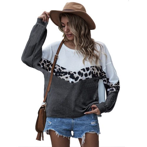 Dark Gray White Colorblock Long Sleeve Top TQK210466-26