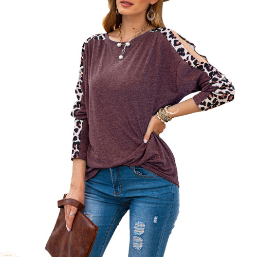 Wine Red Cold Shoulder Leopard Long Sleeve Top TQK210468-103