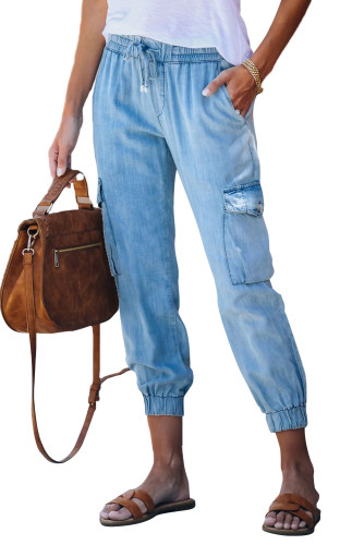 Sky Blue Drawstring Cargo Pocketed Joggers LC77454-4