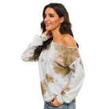 Khaki Tie Dye Print Off Shoulder Blouse TQK210465-21