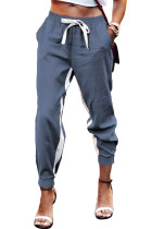 Blue Casual Striped Drawstring Pants LC77469-5