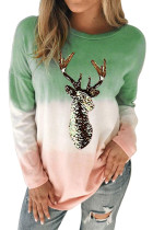 Green Reindeer Print Gradient Colorblock Sweatshirt LC2531516-9