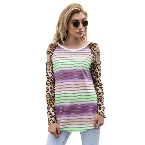 Light Green Ombre Hollow Out Leopard Long Sleeve Top TQK210471-28