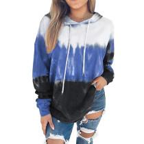 Blue Gradient Drawstring Pullover Hoodie TQK230176-5