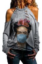 Gray Frida Kahlo Watercolor Print Cold Shoulder Distressed Sweatshirt LC2531359-1011