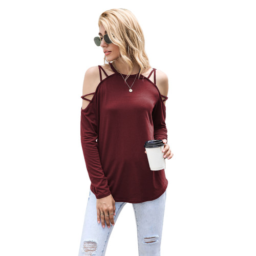 Wine Red Criss Cross Cold Shoulder Blouse TQK210470-103