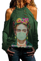 Green Frida Kahlo Watercolor Print Cold Shoulder Distressed Sweatshirt LC2531359-9