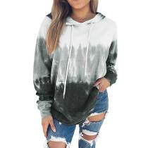 Gray Gradient Drawstring Pullover Hoodie TQK230176-11