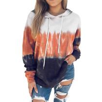 Orange Gradient Drawstring Pullover Hoodie TQK230176-14