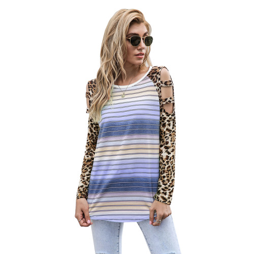 Light Purple Ombre Hollow Out Leopard Long Sleeve Top TQK210471-38