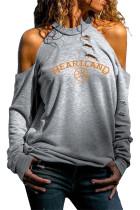 HEARTLAND Print Cold Shoulder Distressed Sweatshirt LC2531359-2011