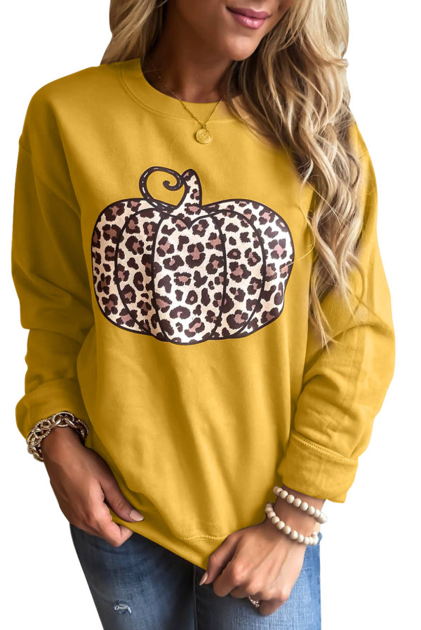 Animal Print Pumpkin Orange Graphic Sweatshirt LC2531118-14