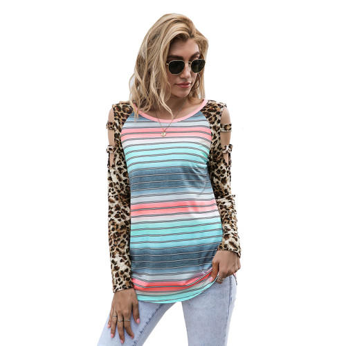 Light Blue Ombre Hollow Out Leopard Long Sleeve Top TQK210471-30