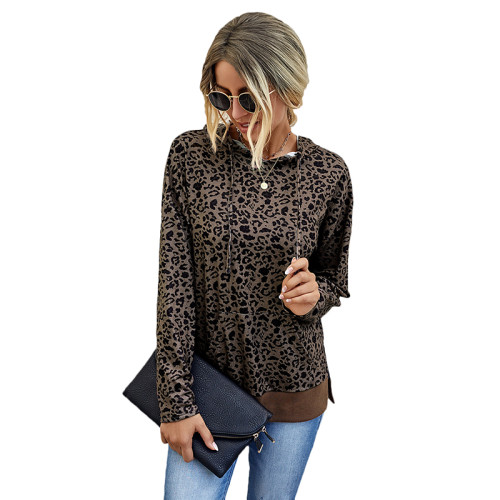 Coffee Leopard Print Side Split Hoodie TQK230187-15